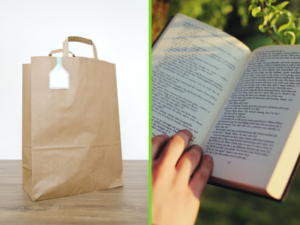 Brown bag and a book.