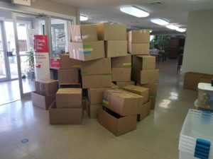 Large pile of boxes.
