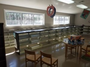 Empty shelves and chairs in the old Chatsworth location.