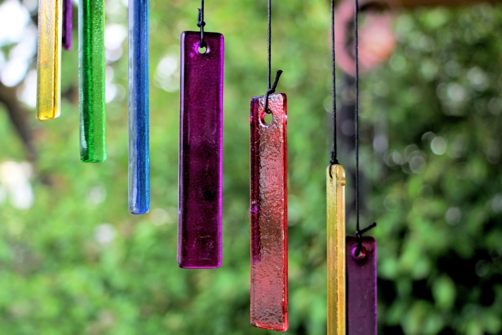 Colorful glass wind chimes.