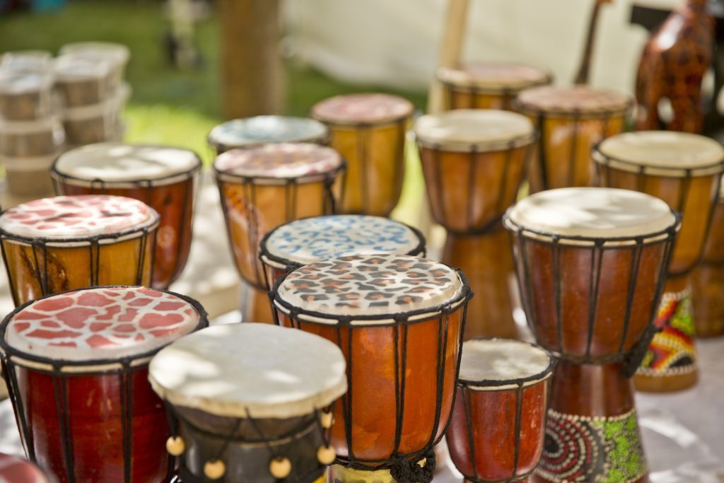 A collection of African drums.
