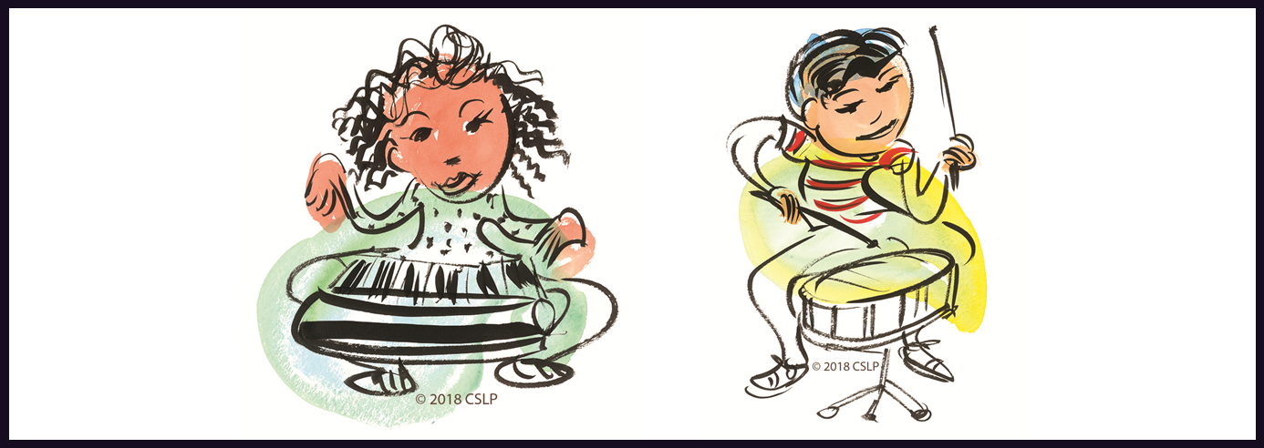 Girl playing a keyboard and a boy playing the drums. CSLP Artwork by Brian Pinkney