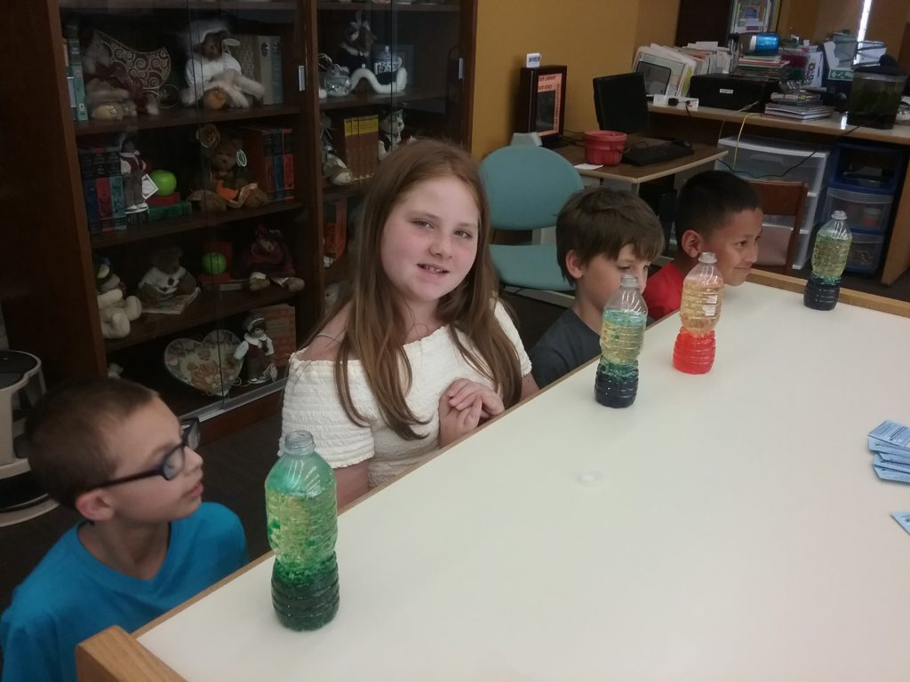 Creating 'lava' lamps in our STEM group.