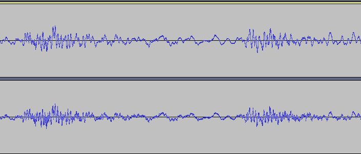Sound waves in Audacity.