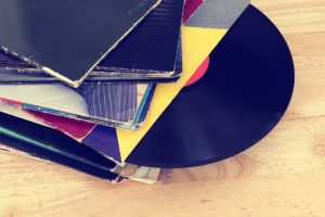 Vinyl Record in a stack of records.