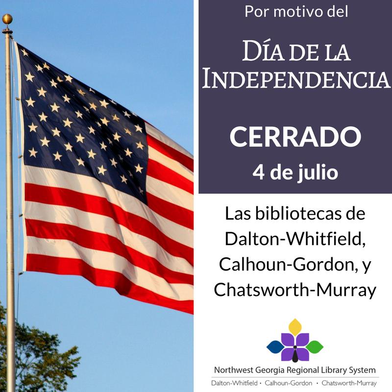 Cartel de cerrado por el Día de la Independencia en español