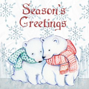 Close up of a holiday card with Season's Greetings.