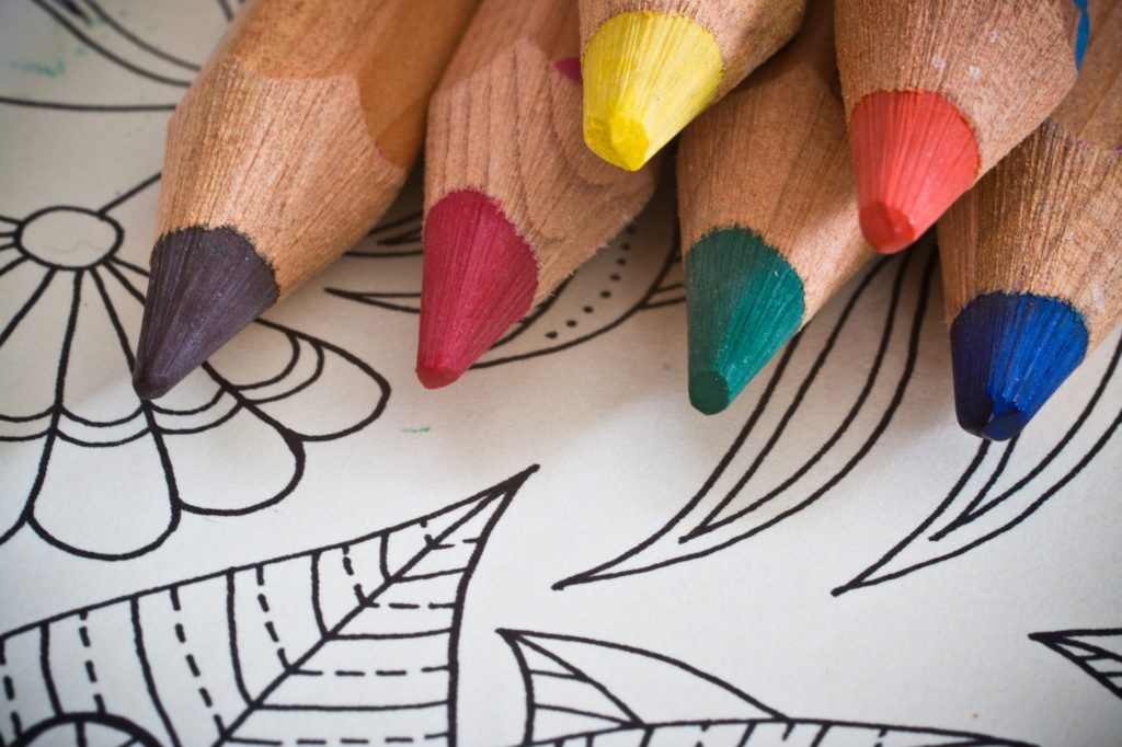 Colored pencils & a coloring page.