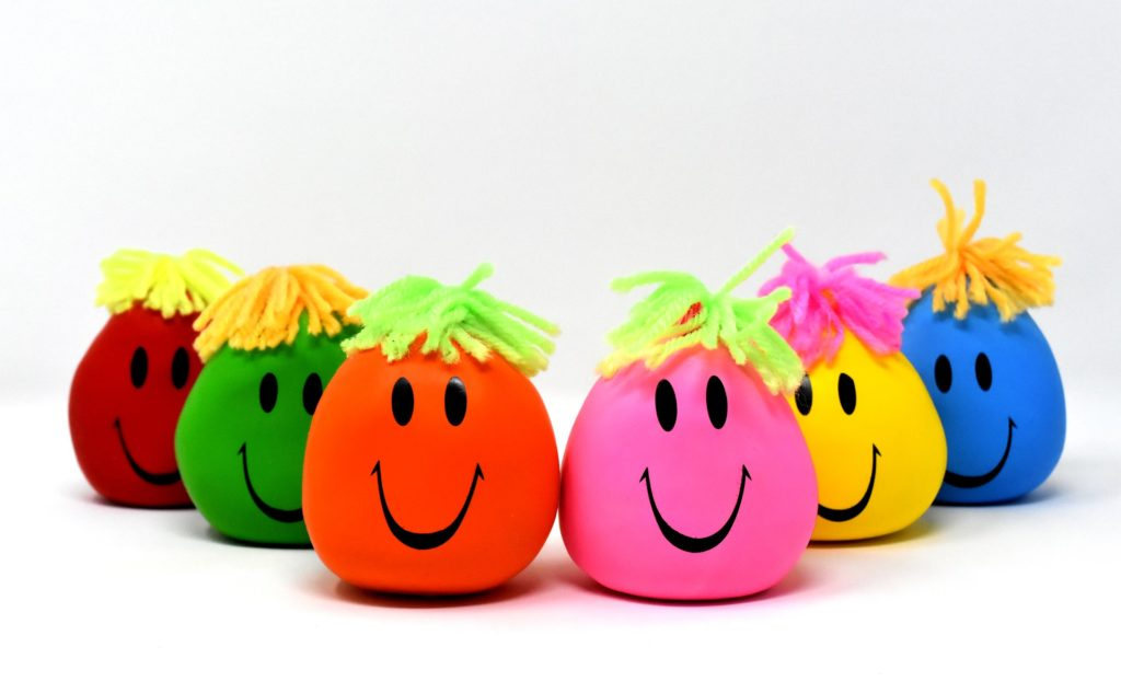 Coloridas pelotas anti estrés.