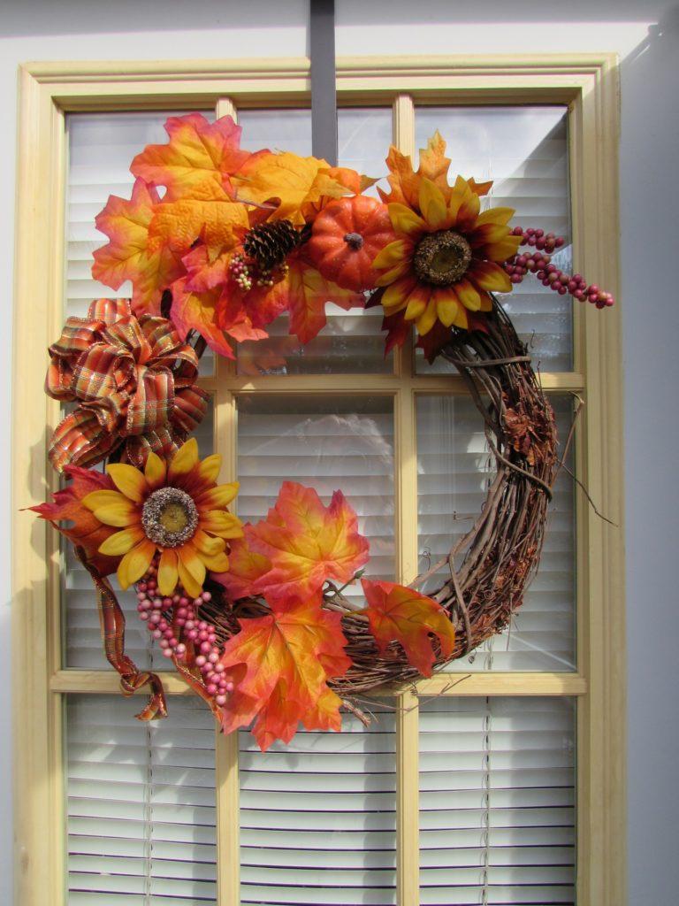 Fall wreath on a door.
