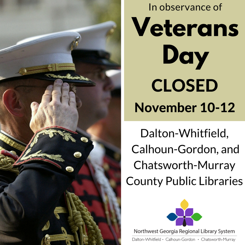 We will be closed November 10th-12th for Veterans' day. Thank you to all our veterans.