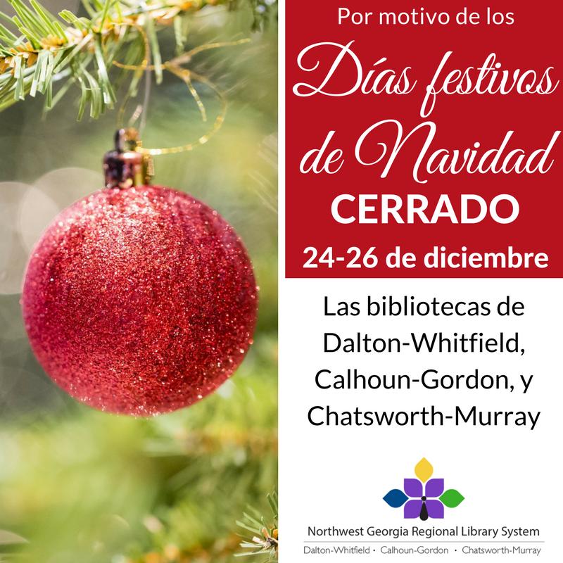 Nuestras bibliotecas permancerán cerradas del 24 al 26 de diciembre.