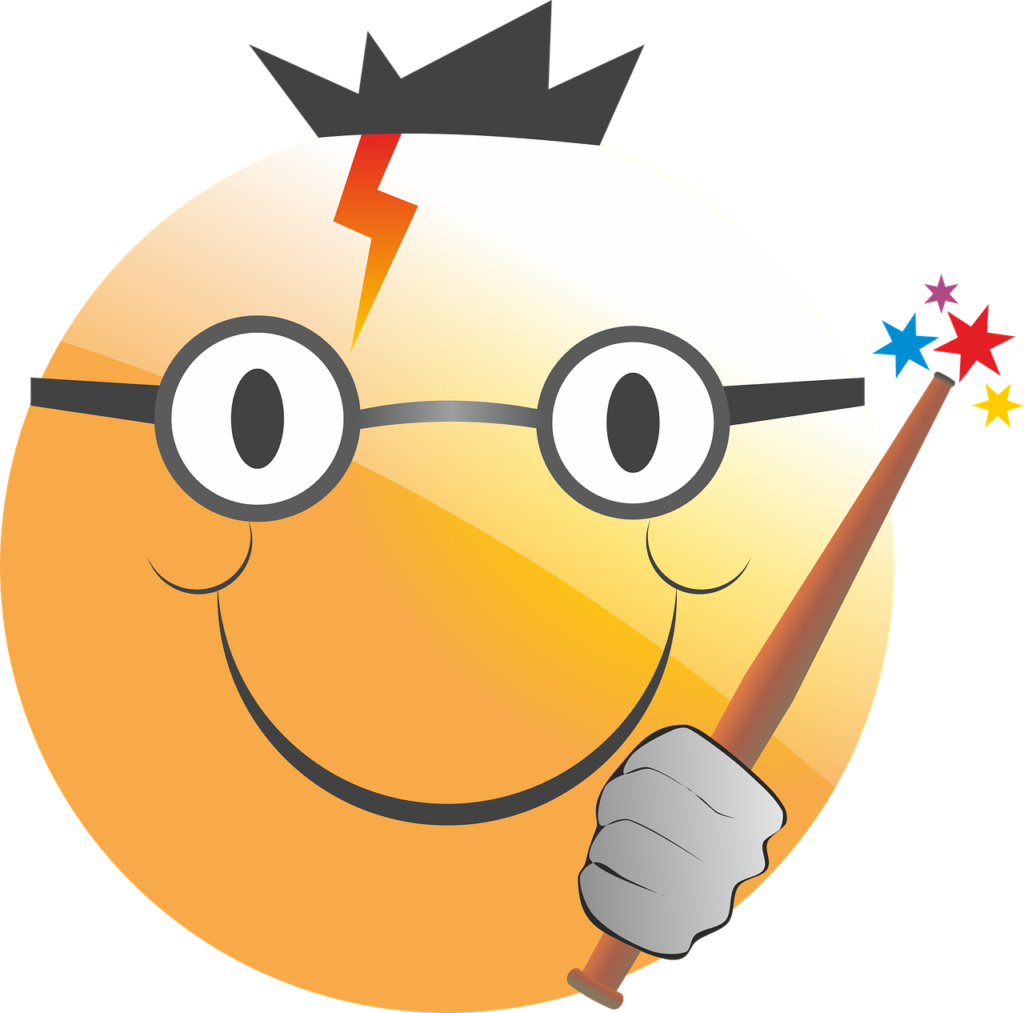 Smiley face with glasses, lightning scar, and wand.
