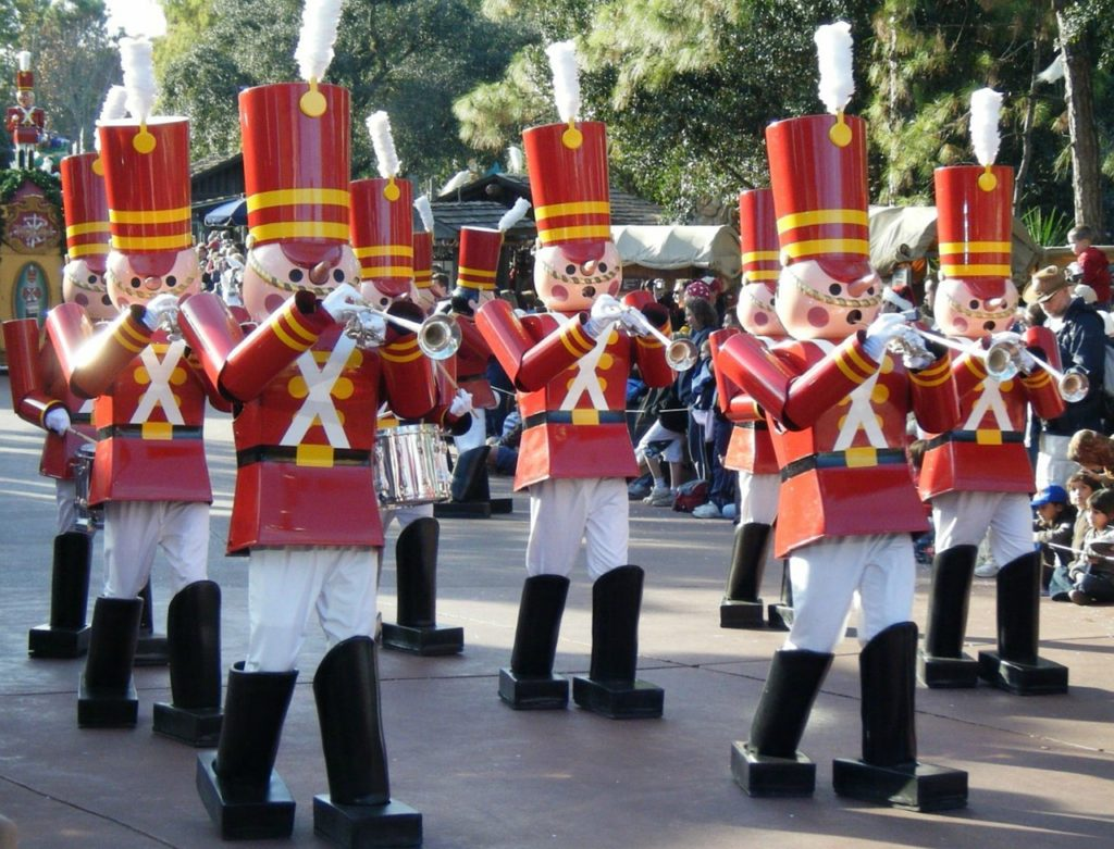 Christmas parade, band members dressed as toy soldiers