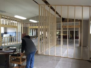 The walls going in for the teen section and the office for the children's librarian