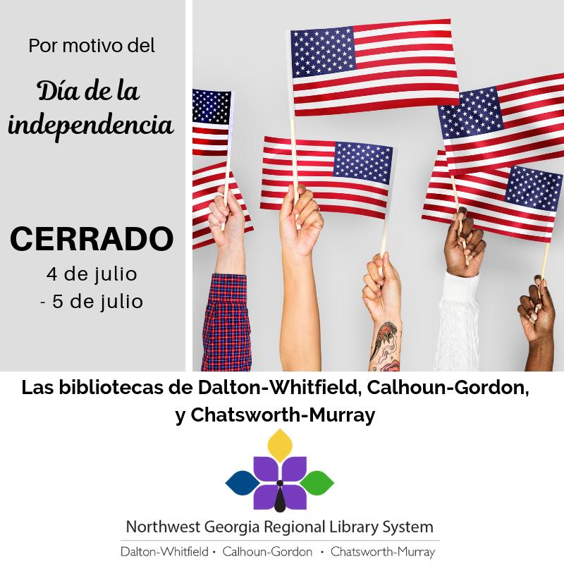 Nuestras bibliotecas estarán cerradas el4y el5de julio por el Día de la Independencia