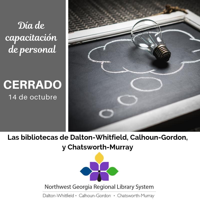Nuestras bibliotecas permanecerán cerradas el 14 de octubre por jornada de desarrollo profesional del personal.