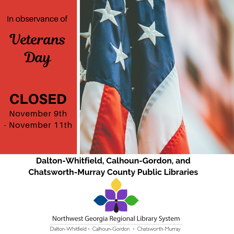 We'll be closed November 9th-11th for Veterans Day