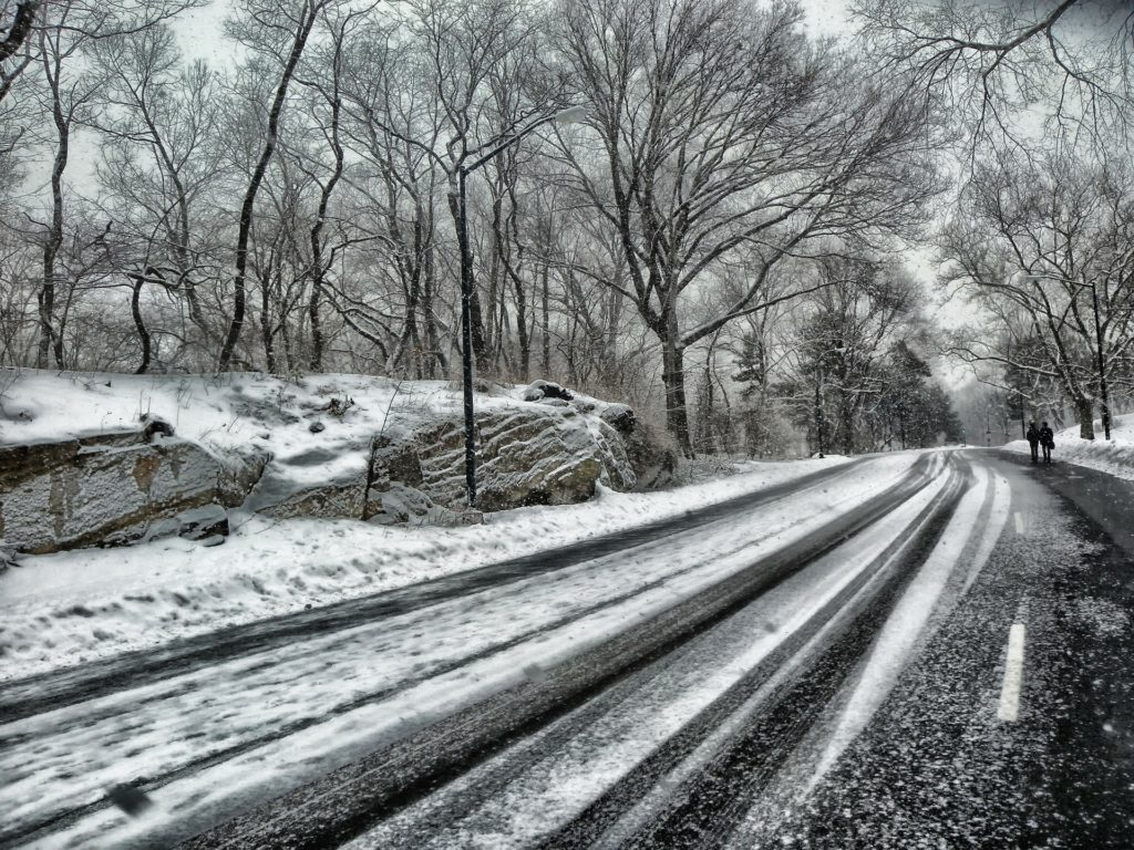 Icy winter roads.