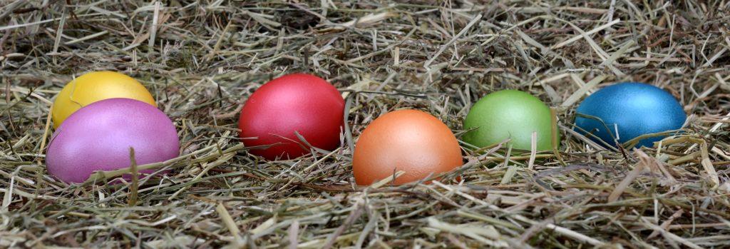 Huevos de Pascua coloridos sobre paja