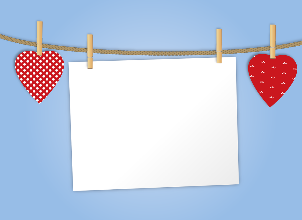 Blank card with hearts.