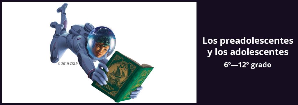 Enlace a la página del desafío de lectura de verano para preadolescentes y adolescentes