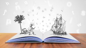 Book with drawings of ships.