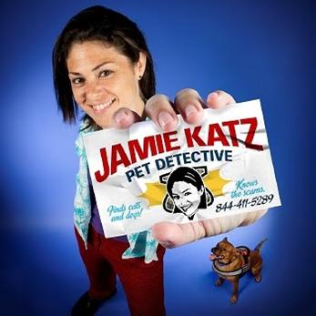 Jamie Katz shows off her business card.