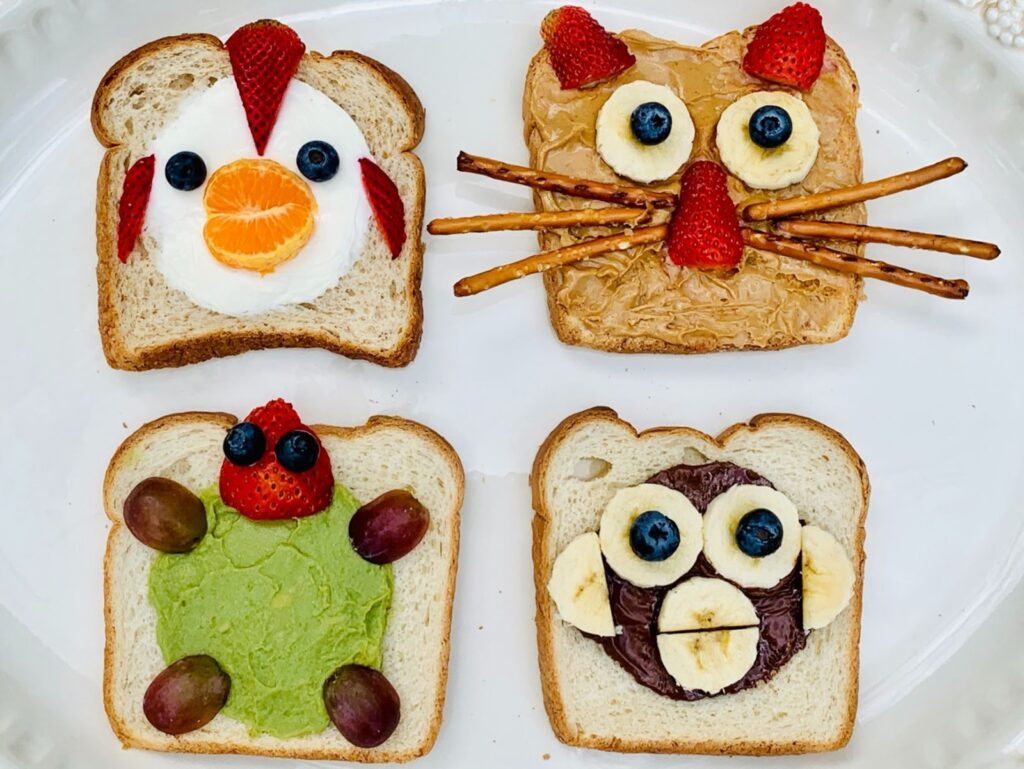 Bread with animal faces made using food products.