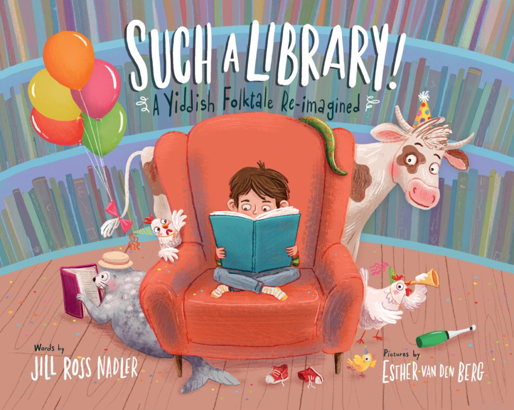 Book cover with child reading in a red arm chair in front of a book case with animals peeking out from behind the chair.