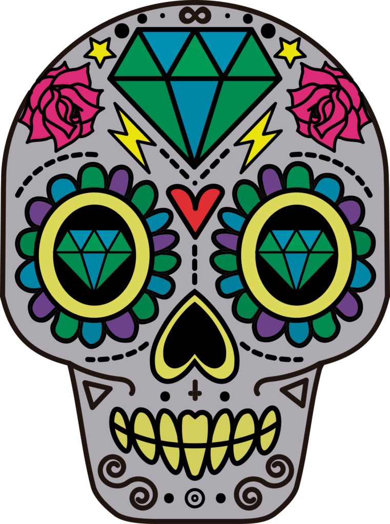 Abstract drawing of a skull with gem shapes, hearts, flowers, and more.